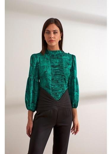Setre Yeşil Truvakar Kol Drapeli Bluz Yeşil